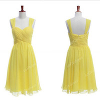 yellow  bridesmaid dress, off shoulder bridesmaid dress, junior bridesmaid dress, short prom dress, evening dress, BM0068