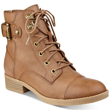 G by GUESS Fella Lace-Up Combat Booties - Boots - Shoes - Macy's
