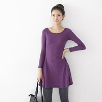 Fashion Clothes Women Dress Autumn Winter Dress Female 100% Cotton O-neck Long Sleeve Dress