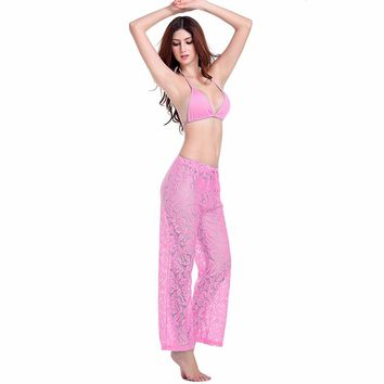 SWIMMART Sexy Women's Beach Wear Cover-Ups Leisure Loose Style Adjustable Waist-Tie Floral Sexy Long Lace Beach Pant Cover-Ups