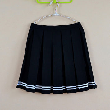 Multi color Japanese high waist pleated skirts JK student Girls solid pleated skirt  Cute Cosplay school uniform skirt