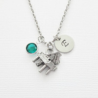 Piano Pewter Necklace Baby Grand Keyboard Instrument Orchestra Musical Birthstone Silver Initial Necklace Personalized Monogram Hand Stamped