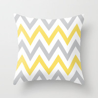 Gray & Yellow Chevron Throw Pillow by daniellebourland