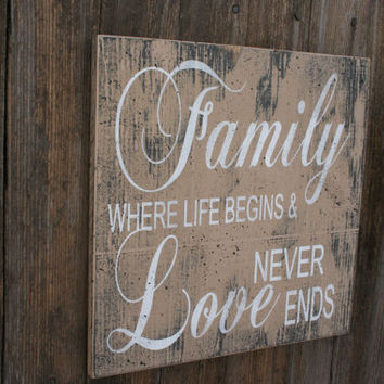 Family Where Life Begins And Love Never Ends Wood Sign Vintage Wood Sign Photo Wall Sign Housewarming Gift Wedding Gift Shabby Chic Decor