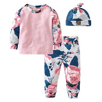 New 2018 Baby Girls Clothes Fashion Flowers Long Sleeve T-shirt+Pants+Hat 3pcs Infant Leisure Outfits Baby Girls Clothing Sets