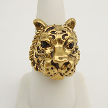Tiger Ring Black Rhinestone Eyes Adjustable Size 7 Plus Brass Figural Jewelry