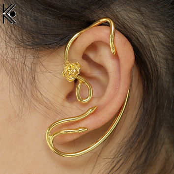 Beauty and the Beast Earrings Ear Cuff Belle Jewelry Gold Color Rose Earrings Fairy Tale Movie