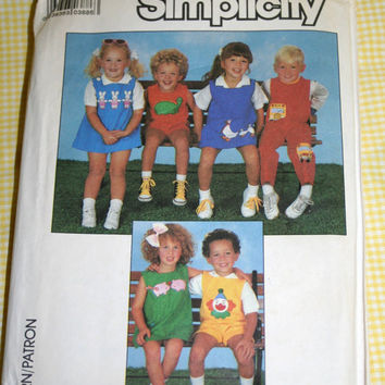 Kids Applique Jumpers Jumpsuits and Rompers Unisex Vintage Sewing Pattern Simplicity 8510 UNCUT Sizes 5, 6, and 6X for boys and girls