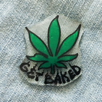 420 Pot Leaf Hat Pin with Custom Text