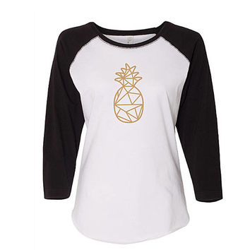 Geometric Pineapple Baseball Raglan Shirt