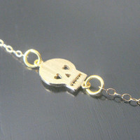 Gold Filled Sideways Skull Necklace Earrings Bridal Bridesmaids Special Ocassion Birthday Christmas