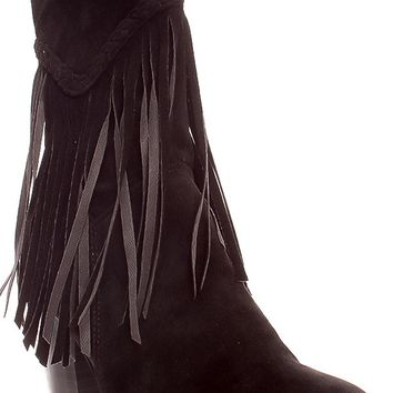 BLACK FRINGE ACCENT SIDE ZIPPER SUEDE MATERIAL BOOTS