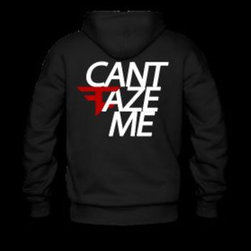 Can't FaZe Me Hoodie (Back) White Text / Small FaZe Logo in Front