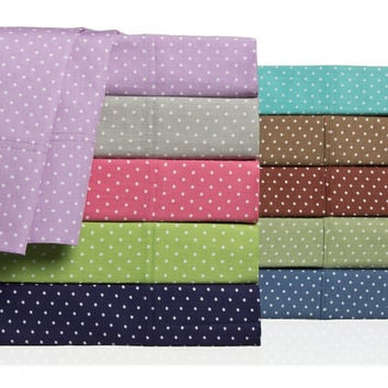 Swiss Polka-dot Colorful 300 Thread Count Cotton Sheet Set | Overstock.com Shopping - The Best Deals on Sheets