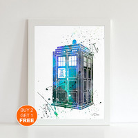 Tardis Dr Who 2 watercolor illustration art print, Tardis art, Dr Who art, home decor, wall art, movie art, movie art, Cult Movie, Fan Art