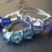 Stacking Rings:  Silver Wire Wrapped, Stackable Ring Set, Light Blue, Sweet Lilac, Cobalt Blue Crystal Rings, Size 7, Custom Size