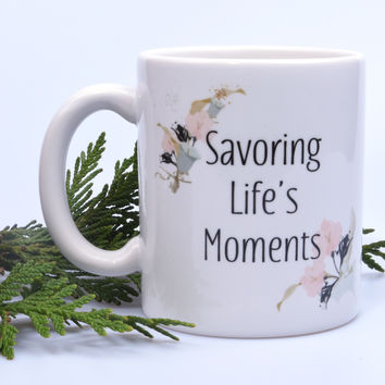 Inspirational Gift - Personalized Mug with Floral Theme - Made in USA
