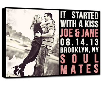 Custom photo poetry canvas with personalization names and dates Unique Wall Art 12x16