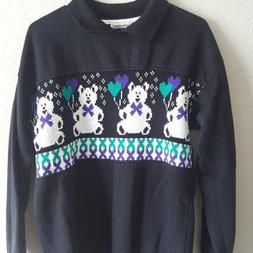 Vintage 90s Collared Bear Sweater