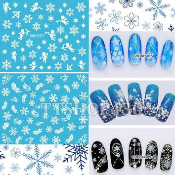 CREYHY3 HOT! 12 Sheets IN 1 Mixed Style Snowflakes Christmas 3D Nail Art Sticker Tips Decals Manicure DIY X'mas Sticker SMY049-060