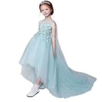 New Fresh Flower Girl Dresses Sweet Mint Green Lace Flower Beading with Shawl Children Princess Prom Party Gowns