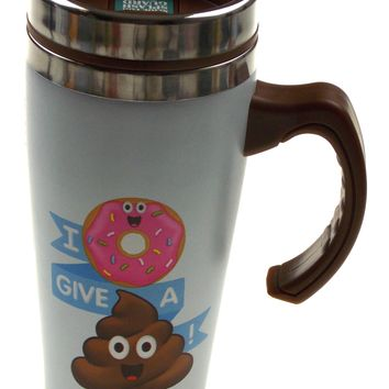 Coffee Travel Mug 16oz I Donut Give a Poo Emoji Stainless Steel Splash Guard Lid
