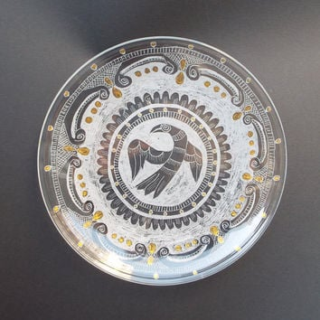 Hand engraved on glass Dish/Dish with magic  bird/ Wedding housewarming gift/ Living room ideas/Collectible glass/New home gift/Couple gift