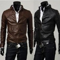 Slim Fit Faux Leather Zip Jacket