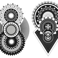 2 Henna and Mandala Temporary Tattoos / Back Tattoo / Tattoo Sleeve