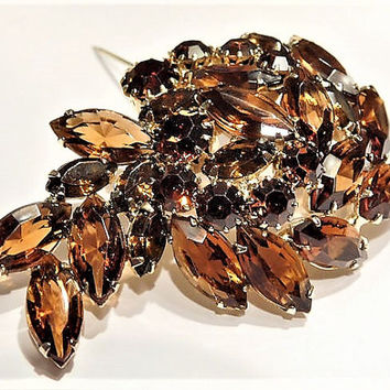 Vintage Juliana DeLizza Elster D & E Rhinestone Brooch Verified D and E Mid Century Hollywood Amber Topaz Root Beer Autumn Fall Winter