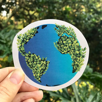 Healthy Earth Sticker, Save the Planet/Earth Day Sticker (computer sticker, bumper sticker)