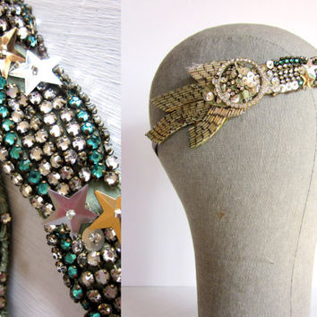 Rhinestone Mermaid Crown with 1920s Rhinestones - Flapper Headpiece - 1920s Headband - Tribal Fusion Headdress - 1920s Bridal Hair Accessory