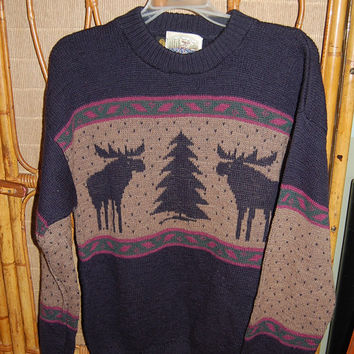 Vintage 80s ALPS Mens Merrimac Valley, New England Wool Christmas Xmas Holiday Winter Ski Sweater Size Medium