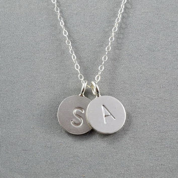 CUSTOM - Double Hand Stamped Disc Necklace, Initial Letter on Fine Silver Disc, Sterling Silver Chain, FREE birthstone