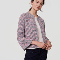 Tweed Bell Sleeve Sweater Jacket | LOFT