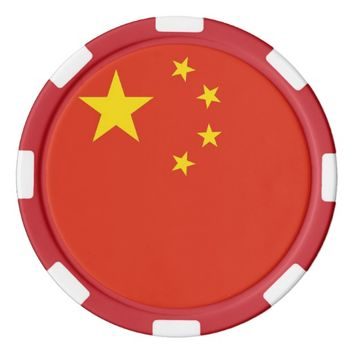 Poker chips with Flag of China