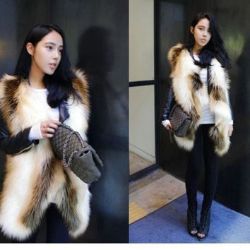 Sexy Ladies Faux Fur Cream&Brown Mixed Asymmetrical Hem Waistcoat Jacket Vest FPC083 = 1931627780