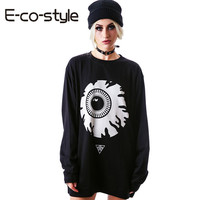 New Paris Women Hoodies Personality Letter Street Funny Eye Printing Cotton Sweats Sweatshirt Loose Long Hoodies Tops RE150
