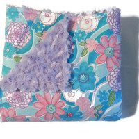 Minky and Cuddle Blanket, Minky Receiving Blanket, Flannel Receiving Blanket, Minky and Flannel, 42 x 42
