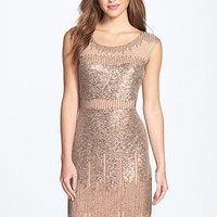 Women's Adrianna Papell Illusion Yoke Beaded Sheath Dress