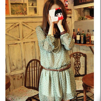 Floral Long Sleeve Chiffon Blouson Pleated Mini Dress
