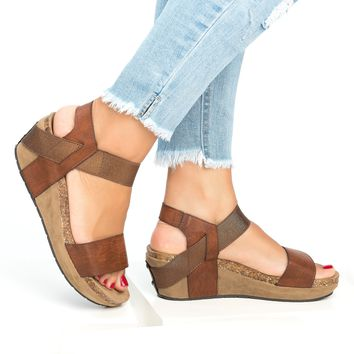 Strappy Low Wedge Heel Sandals