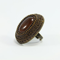 Brown Agate Vintage Style Ring Polymer Clay Handmade by biesge