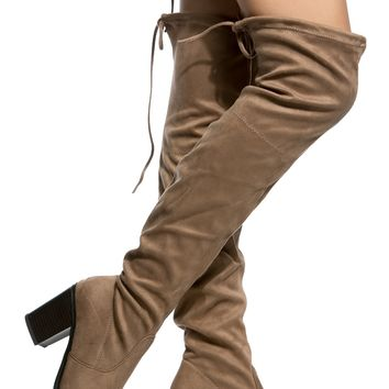 Taupe Faux Suede Chunky Over the Knee Boots @ Cicihot Boots Catalog:women's winter boots,leather thigh high boots,black platform knee high boots,over the knee boots,Go Go boots,cowgirl boots,gladiator boots,womens dress boots,skirt boots.