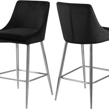 Karina Black Velvet Stool (set of 2)