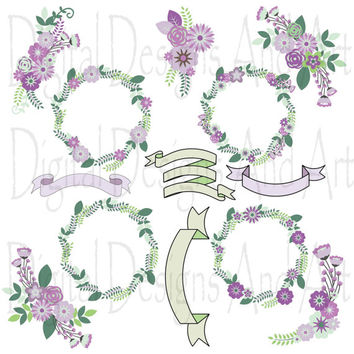 Floral clipart, Flowers clipart, Purple flowers digital clip art, Floral clip art, Flower ribbons, Invitation Label Tags, Mint green