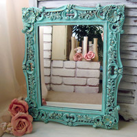Beach Cottage Aqua Painted Vintage Ornate Mirror, Light Aqua Ornate Mirror, Shabby Chic, Cottage Chic Large Mirror, Up Cycled