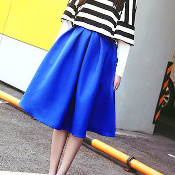 Blue A-Line Pleated Midi Skirt
