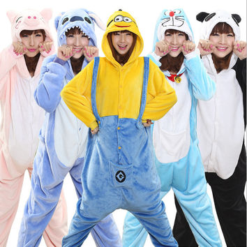 Cute Unicorn Pikachu Pajama Set Totoro Panda Onesuits Flannel Minion Kigurumis Costume Animal Stitch Pijamas Pyjamas