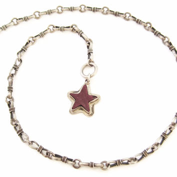 Purple Spiny Oyster Star Necklace Vintage Sterling Custom